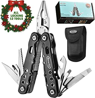12 in 1 Multi tool with Safety Locking, Gifts for Men and Women, RoverTac Multitool with Pliers, Knife, Bottle Opener, Screwdriver, Saw-Perfect for Outdoor, Survival, Camping, Fishing, Hiking (black)