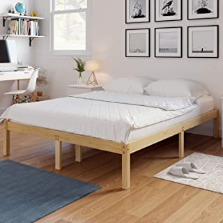 HOMECHO 14 Inch Solid Wood Platform Bed Frame Mattress Foundation with Wooden Slats Support, 660 lbs Heavy Duty, No Box Spring Needed, Natural Finish, Queen, HMC-SW-004