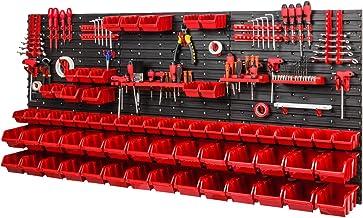 Opslagsysteem werkplaatsrek 1728 x 780 mm - wandrek met gereedschapshouder en 64 rode stapelboxen - wandplaten schuttenrek