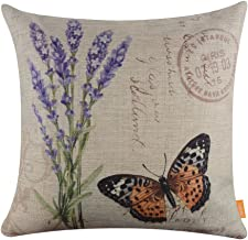 LINKWELL 18x18 French County Lavender Yellow Butterfly Burlap Cushion Covers Pillow Case