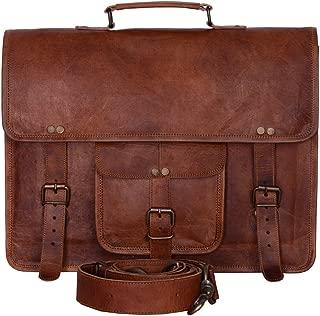 KPL Vintage Men's Brown Handmade Leather Briefcase Best Laptop Messenger Bag Satchel