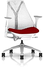 Herman Miller Sayl Ergonomic Office Chair with Tilt Limiter and Carpet Casters | Stationary Seat Depth and Arms | Studio White Frame with Cherry Crepe Seat