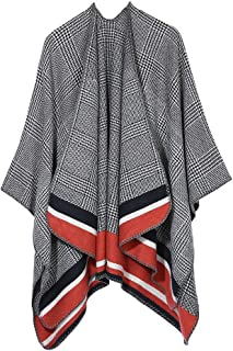 Women's Blanket Winter Houndstooth Knitted Cardigans Scarf Shawl Poncho Cape Coat (Red)