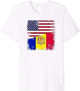 Half Andorran Flag T-Shirt | Vintage Andorra USA Gift
