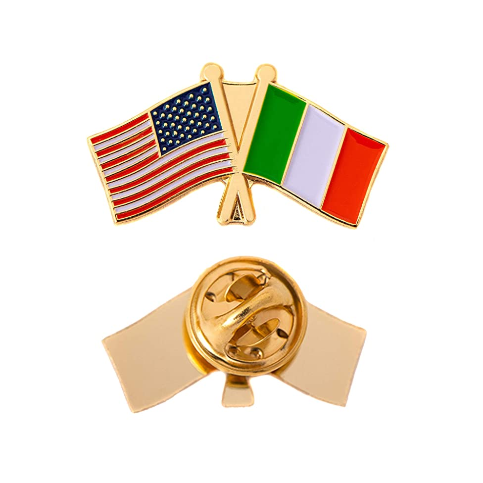 Italy Country Double Flag Lapel Pin Enamel with United States USA US Souvenir Hat Men Women Patriotic Italian (Double Flag Pin)