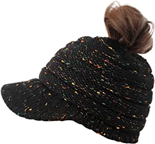 Lamdgbway Women Knit Hats Beanie Tail Cable Colored-Spots Messy Bun Ponytail Visor Beanie Cap