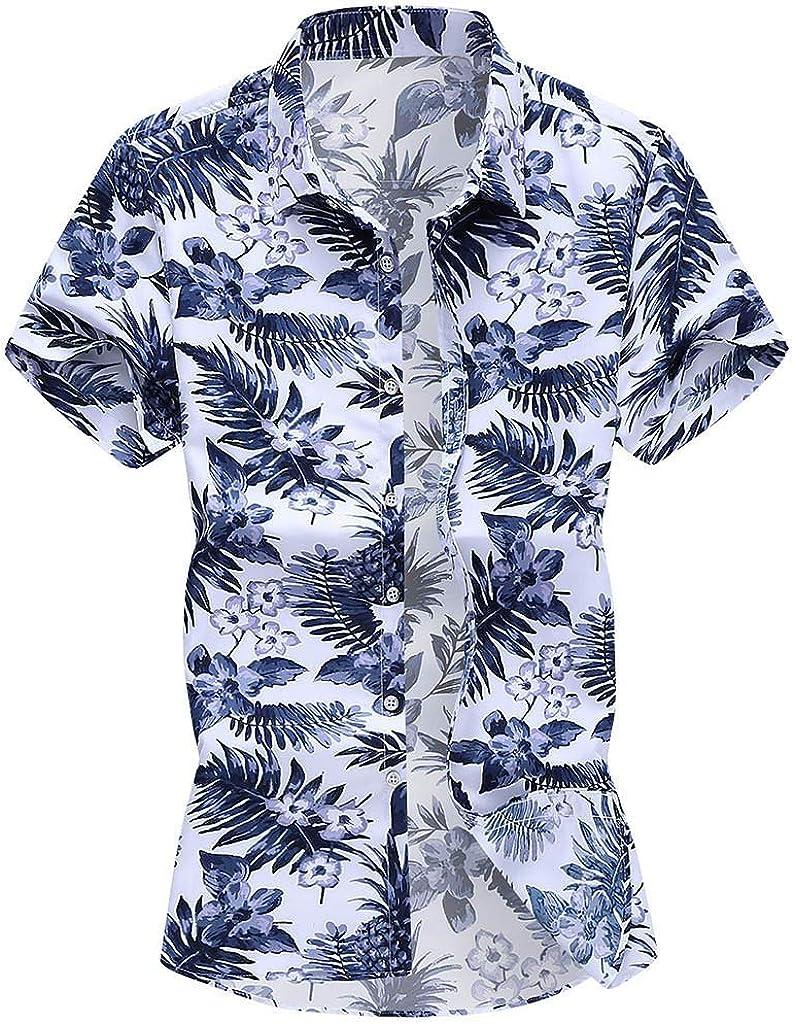 Men's Hawaiian Shirts Casual Short Sleeve Printed Button Down Shirt Summer Relaxed-Fit Vintage Linen Beach Tops