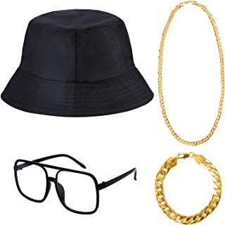 Cooraby 4 Pack 80s/90s Hip Hop Costume Kit Necklace Bracelet Bucket Hat Sunglass