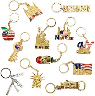 NYC Souvenir Keychain Collection - Set Of 12 Includes Empire State, Freedom Tower, Statue Of Liberty, USA Flag, NY Cab, And More