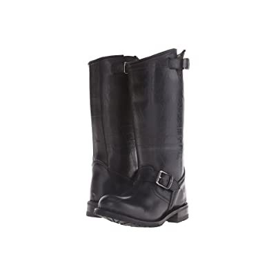 Frye Engineer Shearling Tall (Black Recycled Rubber/Shearling) Cowboy Boots