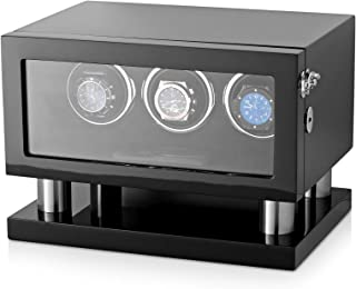 Watch Winder Box for 3 Watches with LED Backlight, LCD Display and Motor-Stop Option