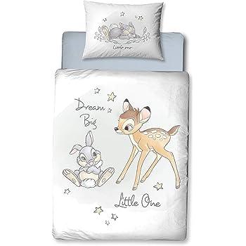 Biancheria da letto in flanella per bambini con immagine di Bambi e Tamburino ☆ 1 federa 40 x 60 + 1 copripiumino 100 x 135 cm ☆