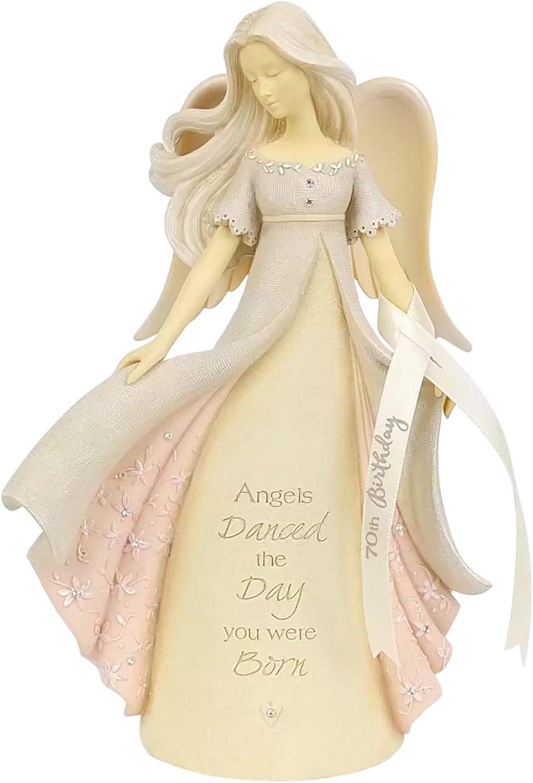 Enesco Foundations 70th Birthday Max 43% OFF Angel Multi 7.6 Figurine Inch Classic