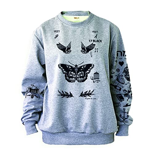 Noonew Womens Butterfly Tattoos Sweatshirt Grey
