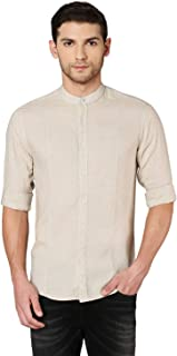 Dennis Lingo Men's Chinese Collar Olive Slim Fit Casual Shirt