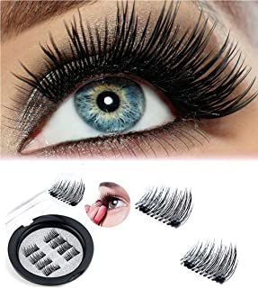 Nasmodo® 4Pairs of Handmade Natural 3D Magnetic False Eyelashes with thick and Reusable Fake Eyelash Extension For Natural Look