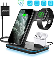 $33 » WAITIEE Wireless Charger, 3 in 1 Qi-Certified 15W Fast Charging Station for Apple iWatch Series 5/4/3/2/1,AirPods, Compatible with iPhone 11 Series/XS MAX/XR/XS/X/8/8 Plus/Samsung (Black)