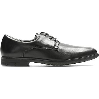 Senior Boys Clarks Bootleg Willis Time Black Leather Smart School Shoes