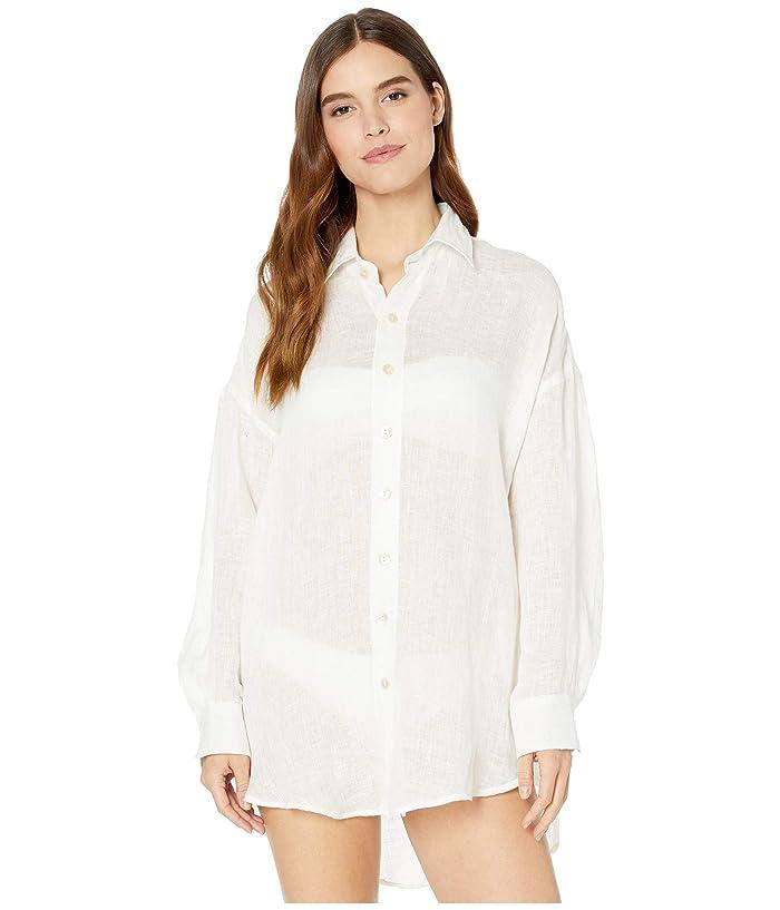 Vitamin A Swimwear Playa Shirtdress Cover-Up (Ecolinen Gauze White) Women