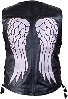 XXS-3XL The Walking Dead Governor Daryl Dixon Angel Gilet per Uomo in Ecopelle Patch Angel Wings sul Retro Daryl Dixon Giacca Daryl Dixon Gilet