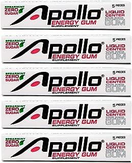 Apollo Energy Gum – Liquid Core Xylitol Gum – Sugar-Free, Aspartame-Free, Caffeinated Gum – Spearmint – 5 Pieces of Gum Per Pack (5 Pack)