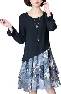 Enlishop Womens Vintage Floral Fake Two Pieces Loose Shift Long Linen Dress