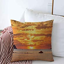 Throw Pillow Case Dusk Beach Sunset Over Sea Nature Calm Parks Orange Bright Cloud Coast Design Gold Farmhouse Square Cushion Pillows Covers 20