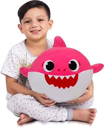 Franco Kids Bedding Soft Plush Cuddle Pillow Buddy, One Size, Baby Shark Pink Mommy