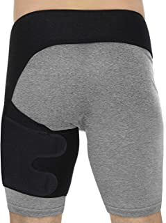 Ideapro Compression Wrap Support, Adjustable Groin Hip Thigh Quad Hamstring Joints, Hamstring Recovery Support - Sciatica Nerve Pain Relief Strap for Men Women