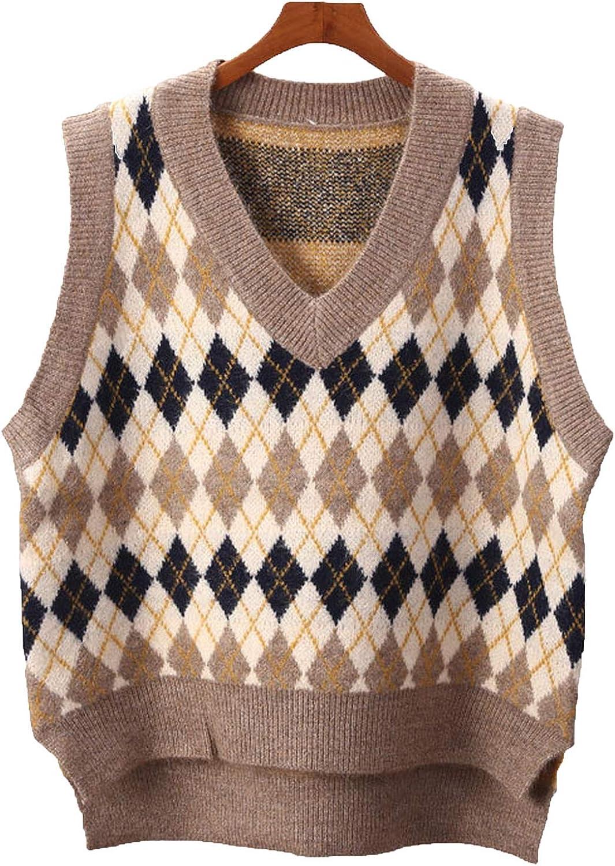Everybody Let's Rock Knitted Pullover Waistcoat Spring V-Neck Loose Irregular Sweater Vest