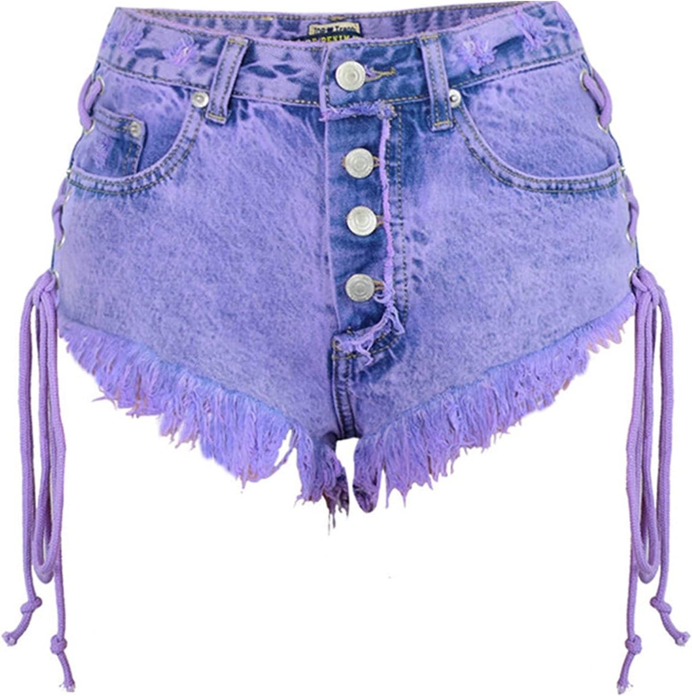 RHH Shop High Waist Shorts for Women Mini Jeans Denim Shorts Women Both Side Tie Solid Cotton Shorts Jeans Jean Shorts (Color : Purple, Size : XS)