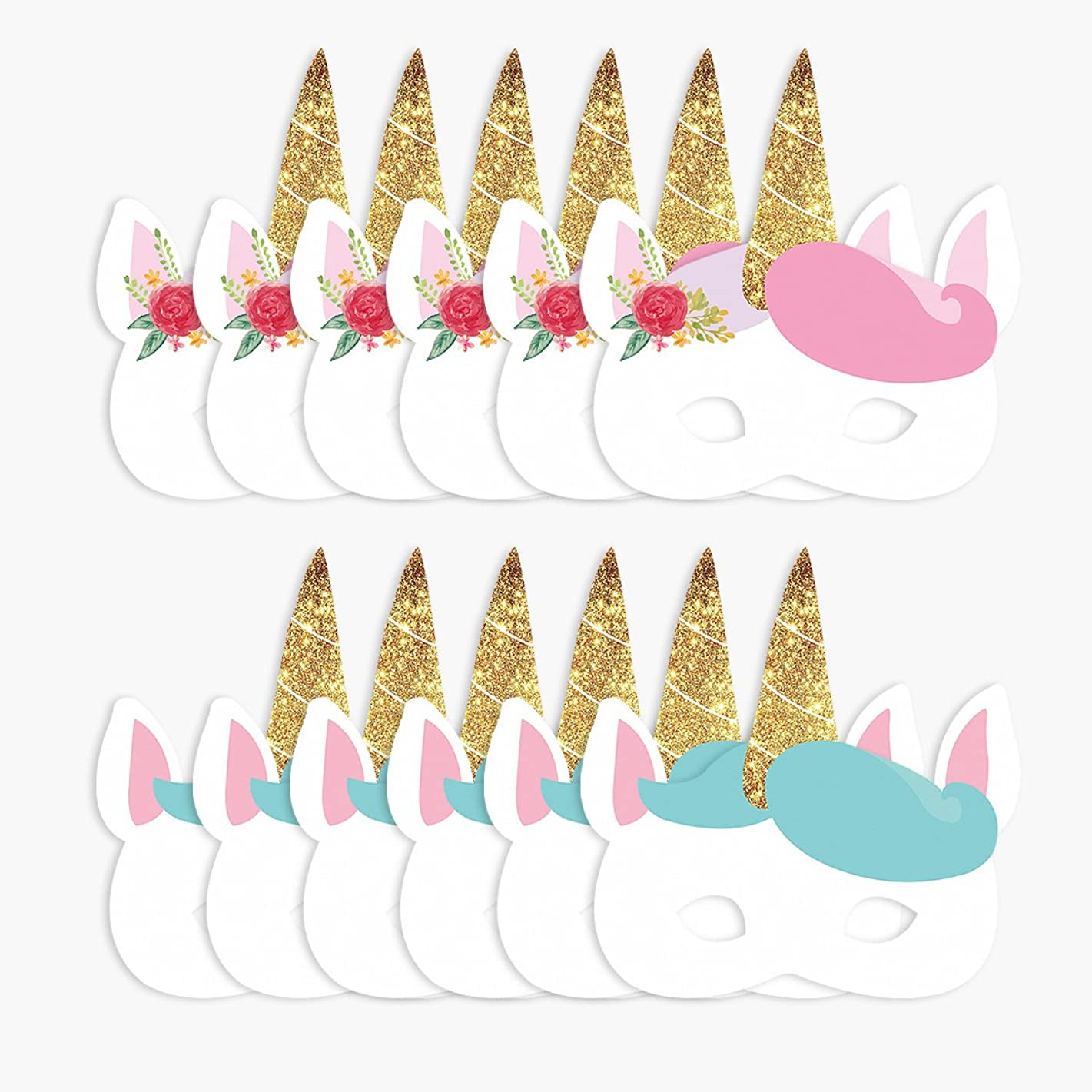 NICROLANDEE 12 Pcs/Set Unicorn Party Masks Glitter Horn for Unicorn Kids Birthday Party Photo Props Dress-Up Party Accessory