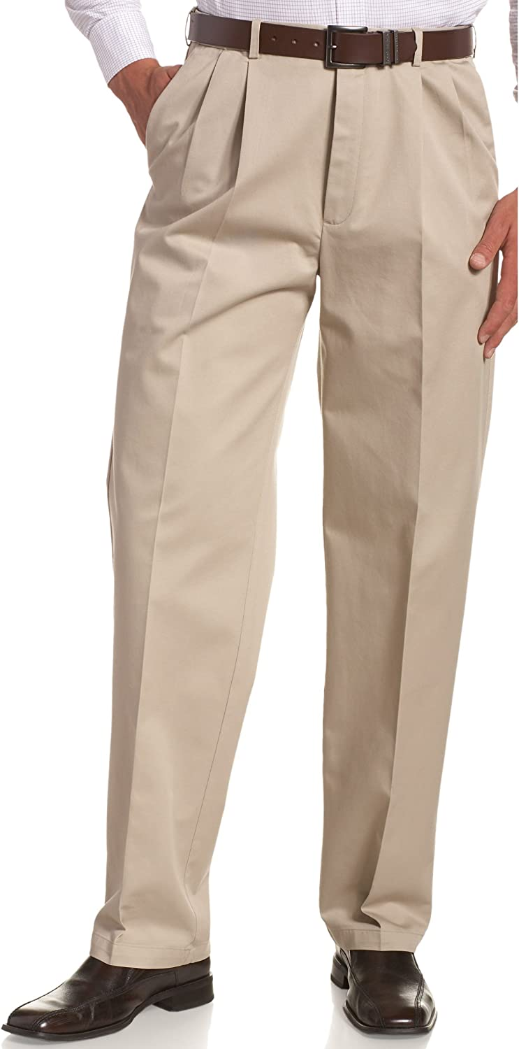Haggar Men's Work to Weekend No Iron Twill Pleat Front Pant-Regular and Big & Tall Sizes