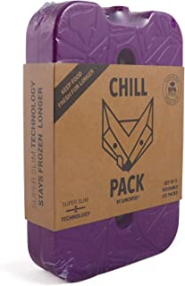 LunchFox Chill Pack Reusable Thin Ice Packs for Neoprene Lunch Bags - Super Slim/Flat (2 Pack) …