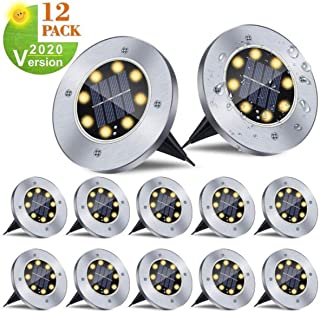 12 Pack Solar Ground Lights, LED Disk Lights Outdoor Waterproof Inground Landscape Lights for Patios Lawns Deck Gardens Pathways
