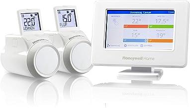 Honeywell Home THR99C3102 Kit de inicio con termostato inteligente evohome WiFi y 2 cabezales para radiador inalámbricos, ...