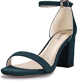 Women's IN3 Cookie-MI Open Toe Mid Heel Chunky Block Ankle Strap Dress Sandals