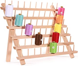 MILIJIA 60-Spool Sewing & Embroidery Threads Wooden Rack Organizer