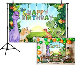 Allenjoy 7x5t Cartoon Dinosaur Theme Backdrop Wild Forest Sunshine Birthday Party Baby Shower Newborn Kids Photography Background Cake Table Banner Decoration Photo Booth Studio Props