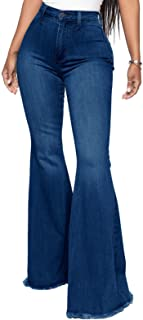Women's Flare Bell Bottom Jeans Knee Ripped Destroyed...