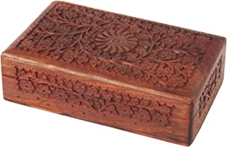 The Great Indian Bazaar Beautiful Ideas Handmade Decorative Wooden Jewelry Box Keepsake Treasure Chest Watch Box Intricate Floral Carvings 8 x 5 Inches Birthday Housewarming Ideas for Women