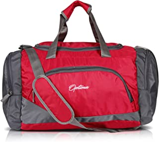 Optima Sports Duffle Bag, 31L Waterproof Gym Bag for Men and Women, Durable Travel Duffel Bag with Shoulder Strap Red/Gray