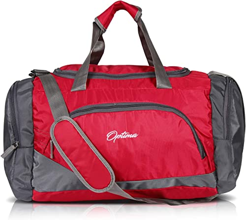 Sports Duffle Bag 31L Waterproof Gym Bag For Men And Women Durable Travel Duffel Bag With Shoulder Strap Red Gray