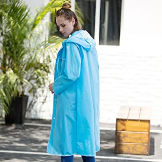 NYDZDM Adult Transparent Raincoats Women Outdoor Single Waterproof Poncho Clear Reusable Rain Coat with Hood and Sleeves,Multi-Color and Multi-Size Optional (Color : Blue, Size : XL)