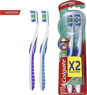 فرشاة أسنان كولجيت 360 متوسطة - عبوة من 2، متعددة الالوان