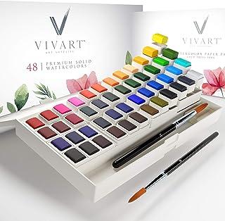 Watercolor Paint Set with 48 Premium Paints, Water Color Paint Set Includes 2 Artist Brushes, Palette, 140lb/300G Watercol...