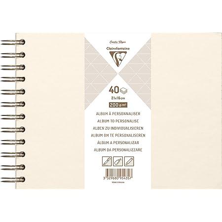 Clairefontaine 95435C - Un album à personnaliser de 40 feuilles de papier blanc 200g au format 21x16cm (Couverture ivoire irisée)