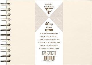 Clairefontaine 95435C - Un album à personnaliser de 40 feuilles de papier blanc 200g au format 21x16cm (Couverture ivoire ...