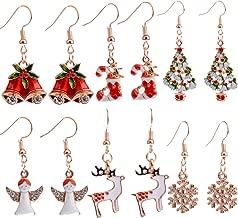 6 Pairs Christmas Dangle Earrings for Women Girls Christmas Tree Stockings Angel Deer Snowflake Bells