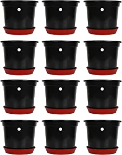 Kraft Seeds Planter Gamla Pot Black Design 8 inches Height for kinds for plants with Bottom plate/tray of 6 inches - Pack of 12 Pieces
